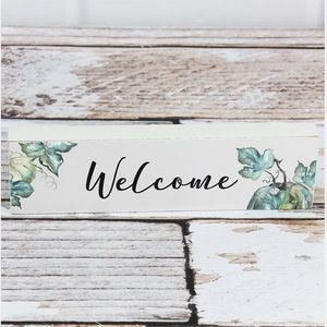 """Welcome"" Fall Pumpkin Small Box Sign"